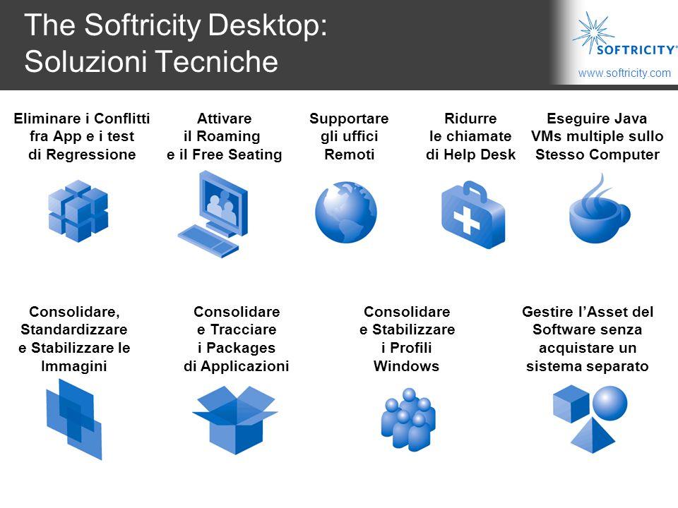 www.softricity.com The Softricity Desktop: Soluzioni Tecniche Eliminare i Conflitti fra App e i test di Regressione Eseguire Java VMs multiple sullo Stesso Computer Consolidare, Standardizzare e Stabilizzare le Immagini Consolidare e Tracciare i Packages di Applicazioni Consolidare e Stabilizzare i Profili Windows Supportare gli uffici Remoti Ridurre le chiamate di Help Desk Attivare il Roaming e il Free Seating Gestire l'Asset del Software senza acquistare un sistema separato