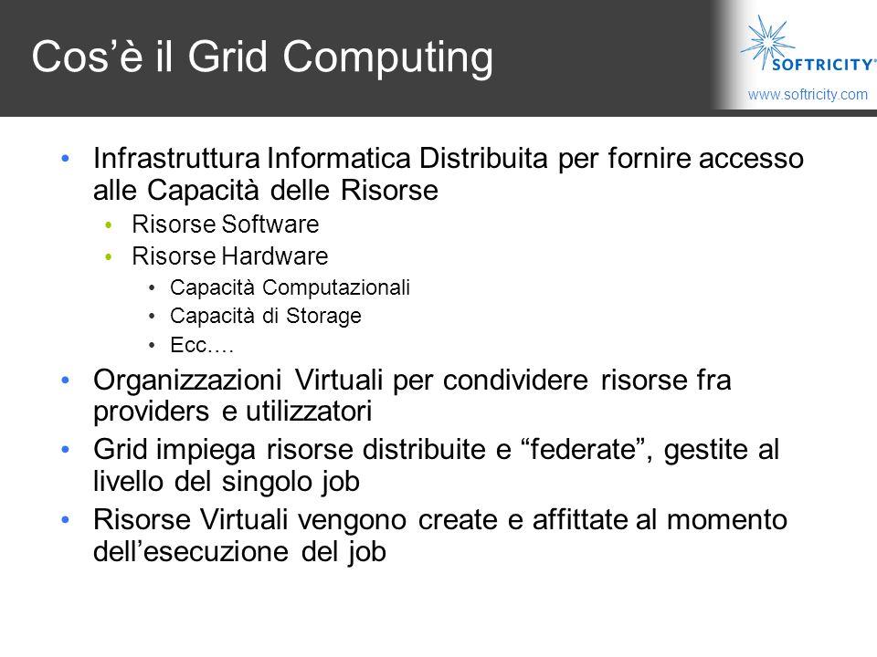 www.softricity.com Cos'è il Grid Computing Infrastruttura Informatica Distribuita per fornire accesso alle Capacità delle Risorse Risorse Software Risorse Hardware Capacità Computazionali Capacità di Storage Ecc….
