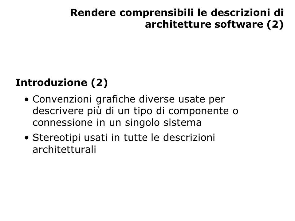 Rendere comprensibili le descrizioni di architetture software (2) Introduzione (2) Convenzioni grafiche diverse usate per descrivere più di un tipo di componente o connessione in un singolo sistema Stereotipi usati in tutte le descrizioni architetturali