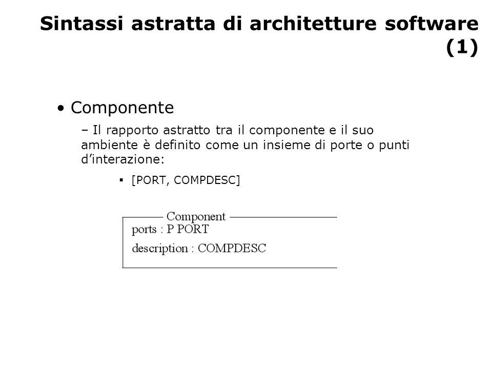 Sintassi astratta di architetture software (2) Connettori – Il connettore ha un'interfaccia che consiste in un insieme di ruoli:  [ROLE, CONNDESC]
