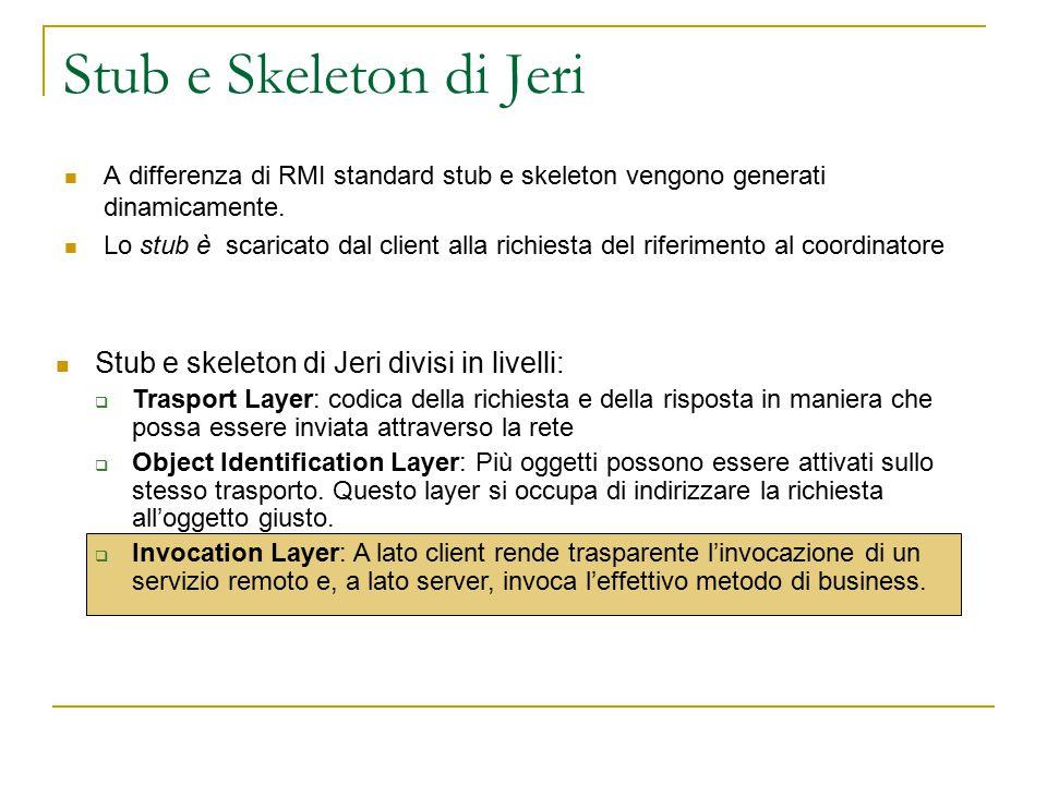 Stub e Skeleton di Jeri A differenza di RMI standard stub e skeleton vengono generati dinamicamente.