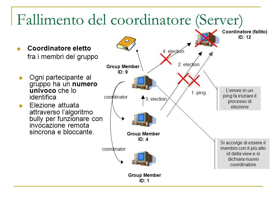 Fallimento del coordinatore (Server) Ogni partecipante al gruppo ha un numero univoco che lo identifica Elezione attuata attraverso l'algoritmo bully per funzionare con invocazione remota sincrona e bloccante.