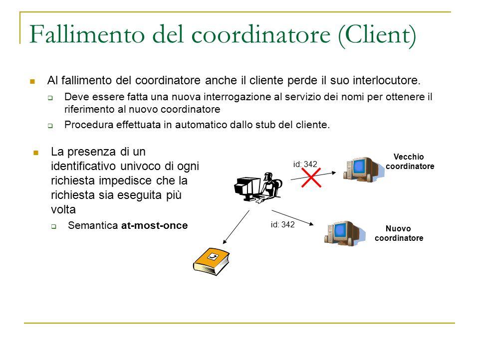 Fallimento del coordinatore (Client) Al fallimento del coordinatore anche il cliente perde il suo interlocutore.