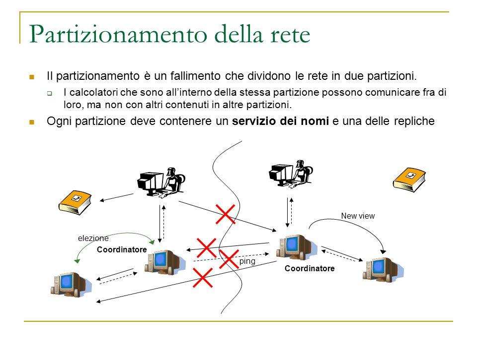 Partizionamento della rete Il partizionamento è un fallimento che dividono le rete in due partizioni.