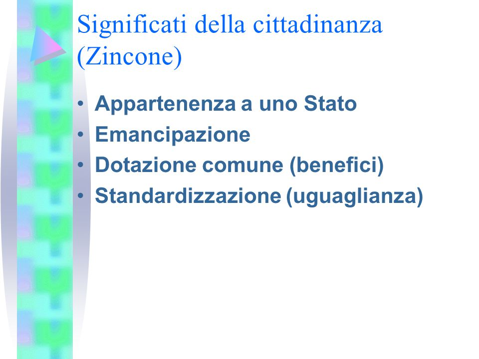 Significati della cittadinanza (Zincone) Appartenenza a uno Stato Emancipazione Dotazione comune (benefici) Standardizzazione (uguaglianza)