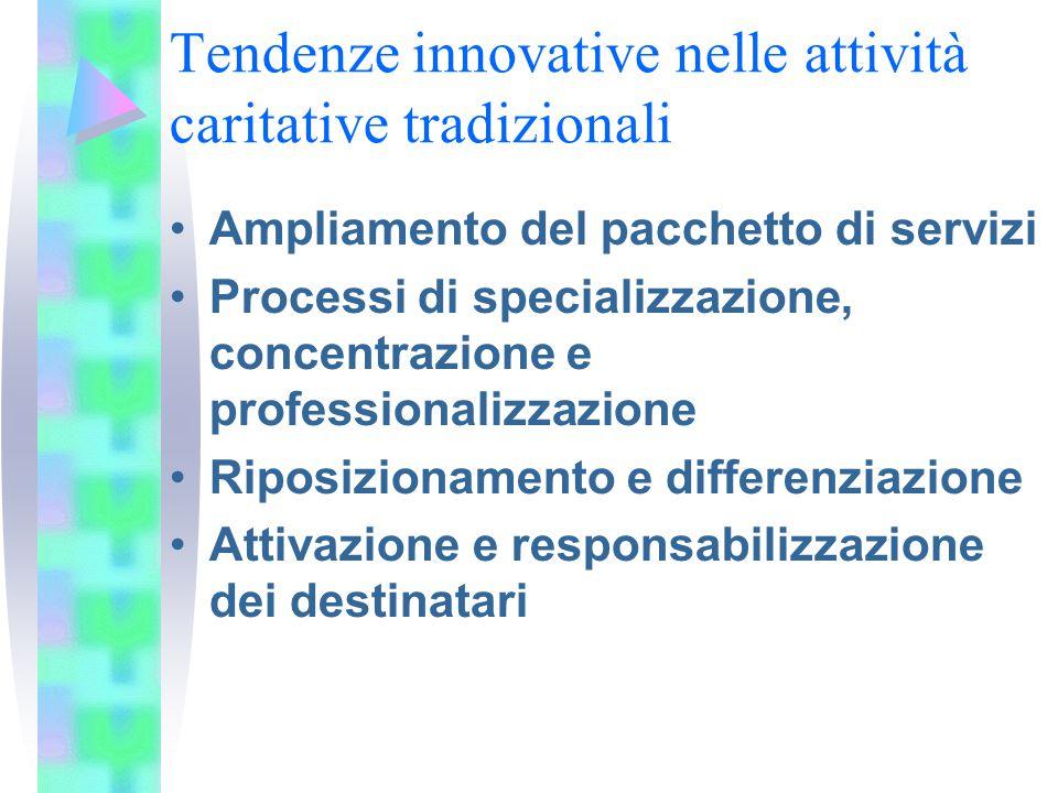 Tendenze innovative nelle attività caritative tradizionali Ampliamento del pacchetto di servizi Processi di specializzazione, concentrazione e professionalizzazione Riposizionamento e differenziazione Attivazione e responsabilizzazione dei destinatari