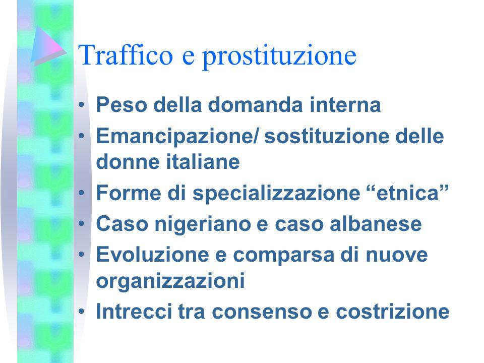 Traffico e prostituzione Peso della domanda interna Emancipazione/ sostituzione delle donne italiane Forme di specializzazione etnica Caso nigeriano e caso albanese Evoluzione e comparsa di nuove organizzazioni Intrecci tra consenso e costrizione
