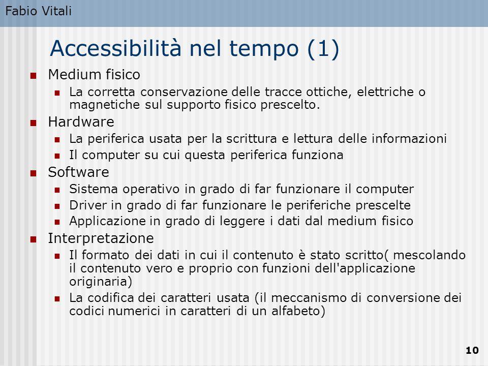 Fabio Vitali 10 Accessibilità nel tempo (1) Medium fisico La corretta conservazione delle tracce ottiche, elettriche o magnetiche sul supporto fisico