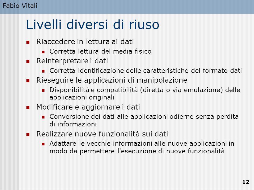 Fabio Vitali 12 Livelli diversi di riuso Riaccedere in lettura ai dati Corretta lettura del media fisico Reinterpretare i dati Corretta identificazion