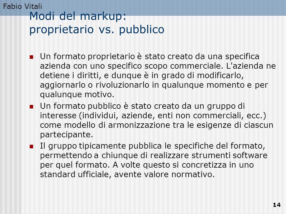 Fabio Vitali 14 Modi del markup: proprietario vs. pubblico Un formato proprietario è stato creato da una specifica azienda con uno specifico scopo com