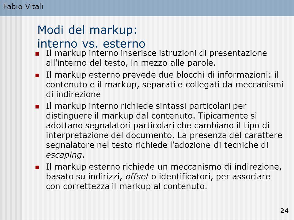 Fabio Vitali 24 Modi del markup: interno vs. esterno Il markup interno inserisce istruzioni di presentazione all'interno del testo, in mezzo alle paro