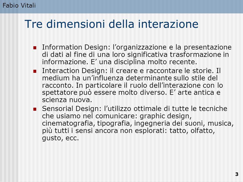 Fabio Vitali 3 Tre dimensioni della interazione Information Design: l'organizzazione e la presentazione di dati al fine di una loro significativa tras
