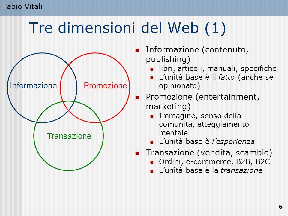 Fabio Vitali 6 InformazionePromozione Transazione Tre dimensioni del Web (1) Informazione (contenuto, publishing) libri, articoli, manuali, specifiche