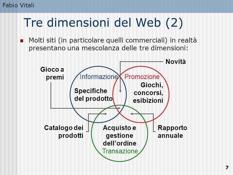 Fabio Vitali 7 InformazionePromozione Transazione Tre dimensioni del Web (2) Molti siti (in particolare quelli commerciali) in realtà presentano una m