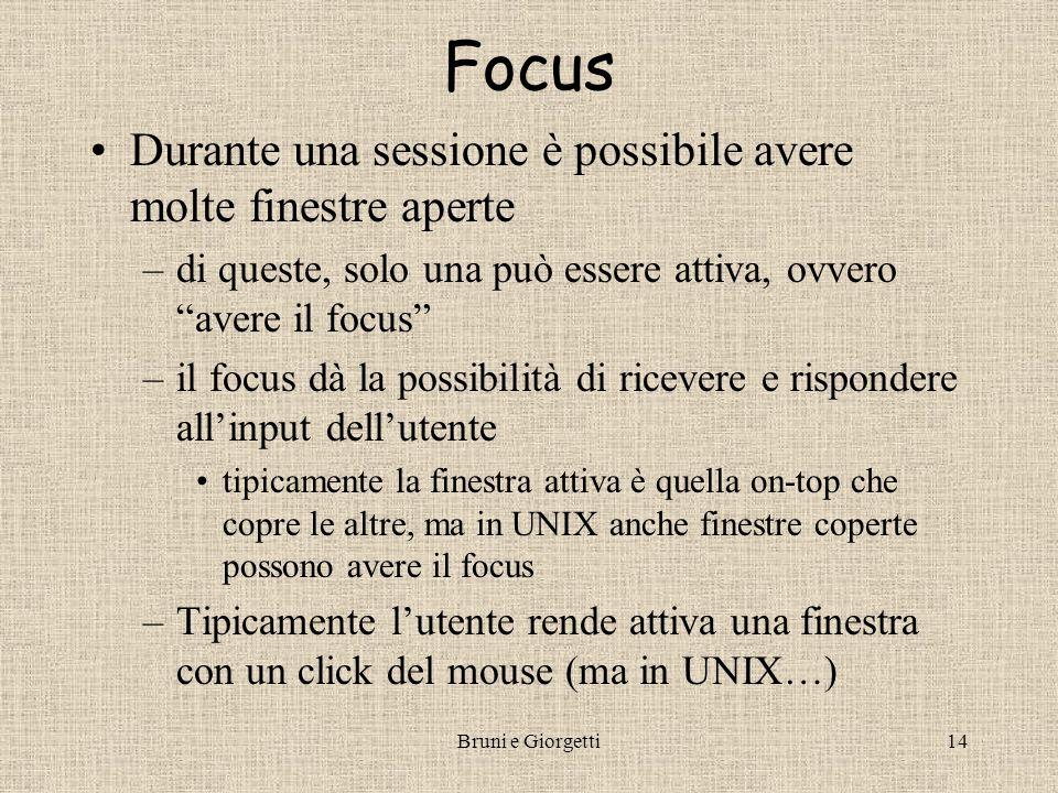 """Bruni e Giorgetti14 Focus Durante una sessione è possibile avere molte finestre aperte –di queste, solo una può essere attiva, ovvero """"avere il focus"""""""