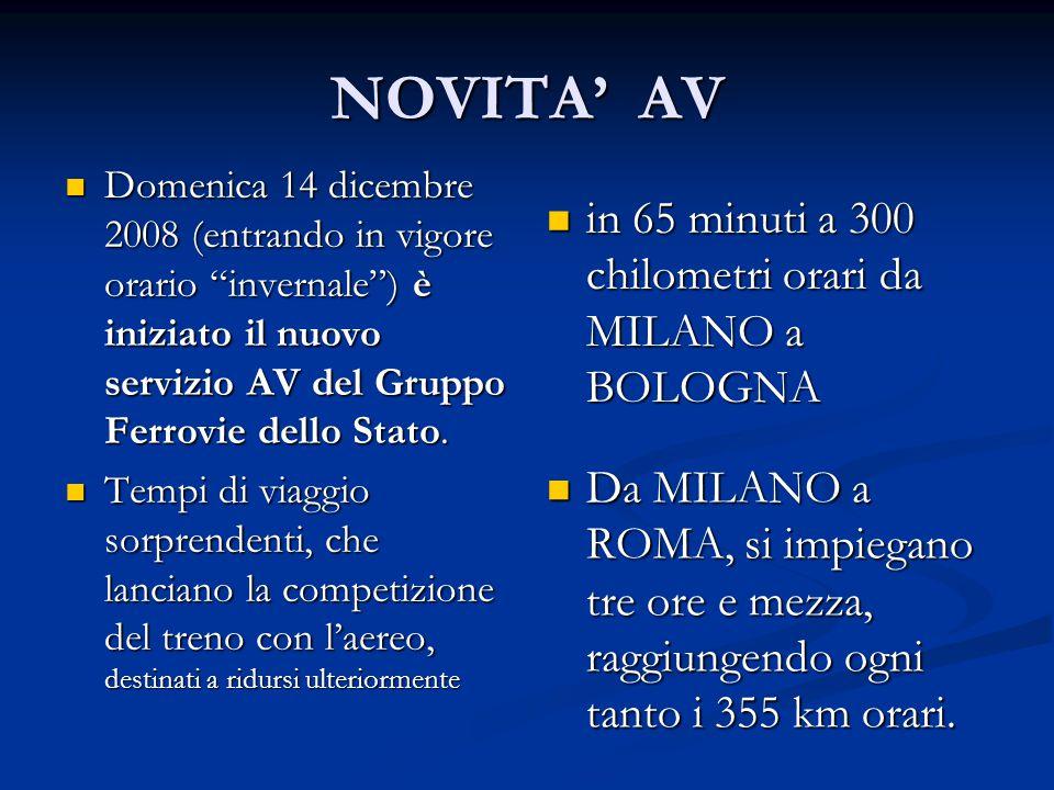 """NOVITA' AV Domenica 14 dicembre 2008 (entrando in vigore orario """"invernale"""") è iniziato il nuovo servizio AV del Gruppo Ferrovie dello Stato. Domenica"""