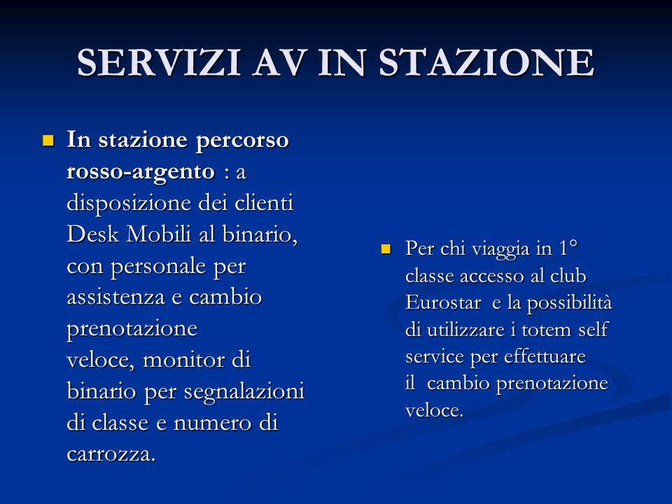 SERVIZI AV IN STAZIONE In stazione percorso rosso-argento : a disposizione dei clienti Desk Mobili al binario, con personale per assistenza e cambio p