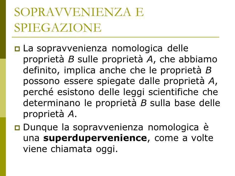 SOPRAVVENIENZA E SPIEGAZIONE  La sopravvenienza nomologica delle proprietà B sulle proprietà A, che abbiamo definito, implica anche che le proprietà