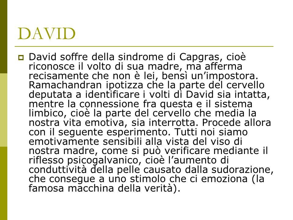 DAVID  David soffre della sindrome di Capgras, cioè riconosce il volto di sua madre, ma afferma recisamente che non è lei, bensì un'impostora. Ramach