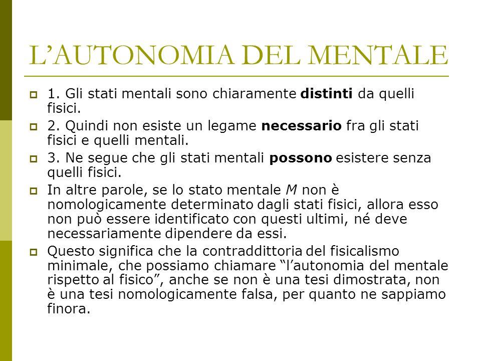 L'AUTONOMIA DEL MENTALE  1. Gli stati mentali sono chiaramente distinti da quelli fisici.  2. Quindi non esiste un legame necessario fra gli stati f