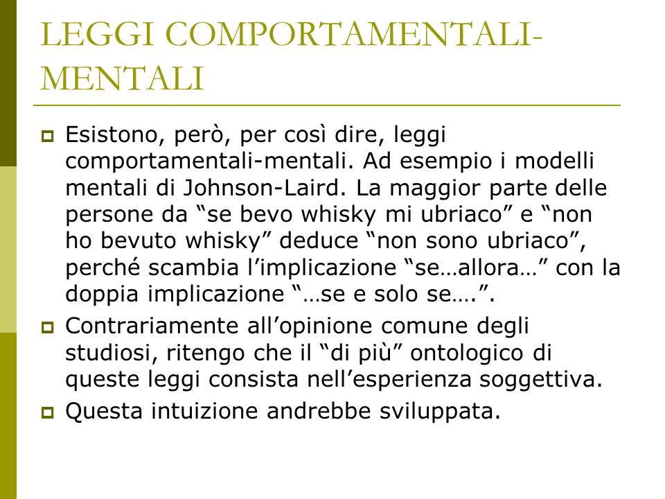 LEGGI COMPORTAMENTALI- MENTALI  Esistono, però, per così dire, leggi comportamentali-mentali. Ad esempio i modelli mentali di Johnson-Laird. La maggi