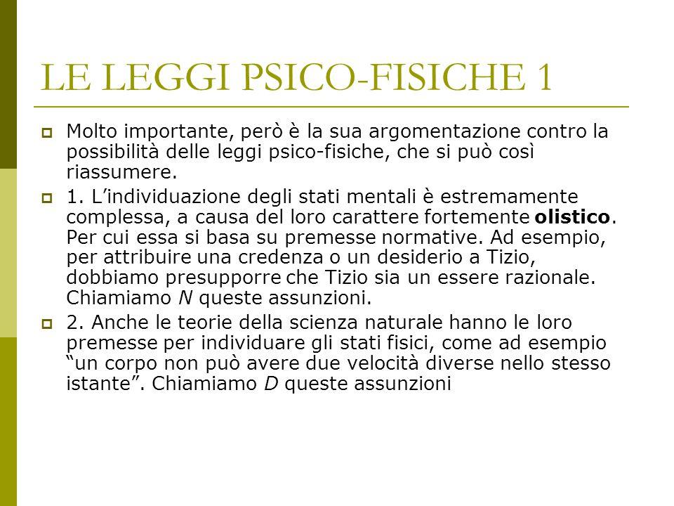 LE LEGGI PSICO-FISICHE 1  Molto importante, però è la sua argomentazione contro la possibilità delle leggi psico-fisiche, che si può così riassumere.