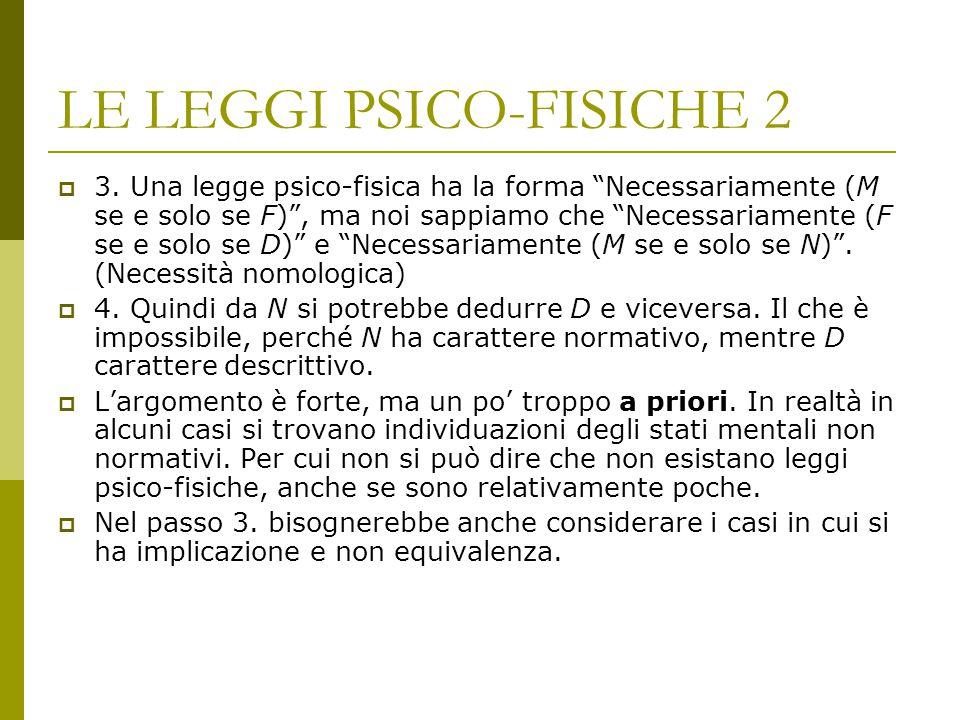 """LE LEGGI PSICO-FISICHE 2  3. Una legge psico-fisica ha la forma """"Necessariamente (M se e solo se F)"""", ma noi sappiamo che """"Necessariamente (F se e so"""