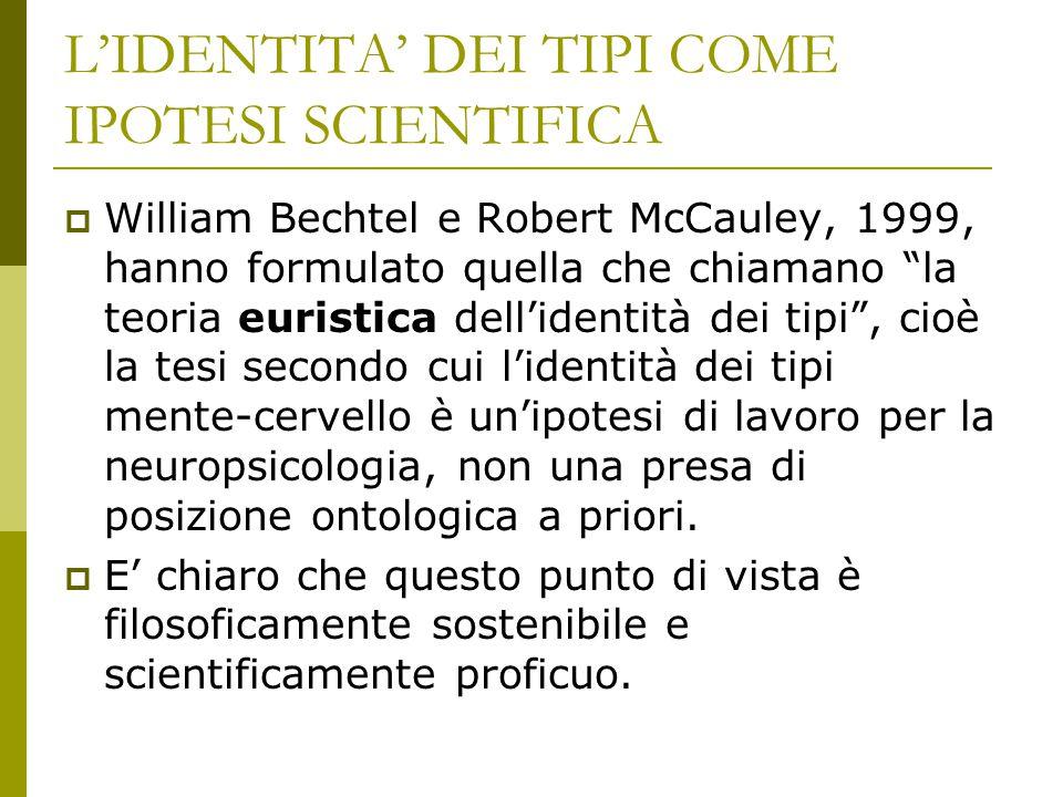 """L'IDENTITA' DEI TIPI COME IPOTESI SCIENTIFICA  William Bechtel e Robert McCauley, 1999, hanno formulato quella che chiamano """"la teoria euristica dell"""