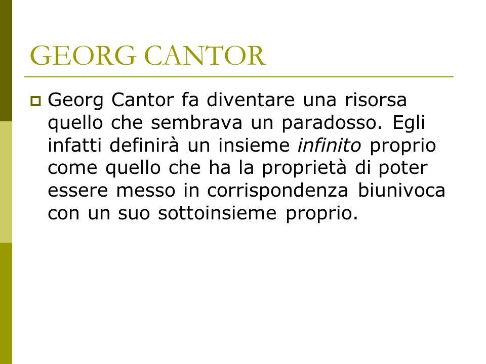 GEORG CANTOR  Georg Cantor fa diventare una risorsa quello che sembrava un paradosso. Egli infatti definirà un insieme infinito proprio come quello c