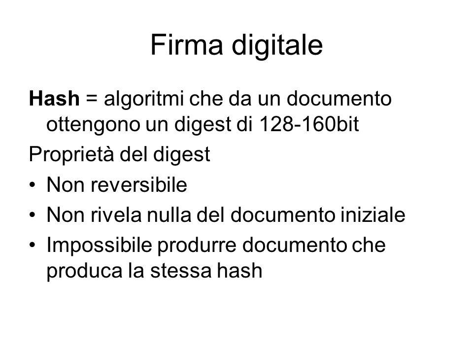 Firma digitale Hash = algoritmi che da un documento ottengono un digest di 128-160bit Proprietà del digest Non reversibile Non rivela nulla del documento iniziale Impossibile produrre documento che produca la stessa hash