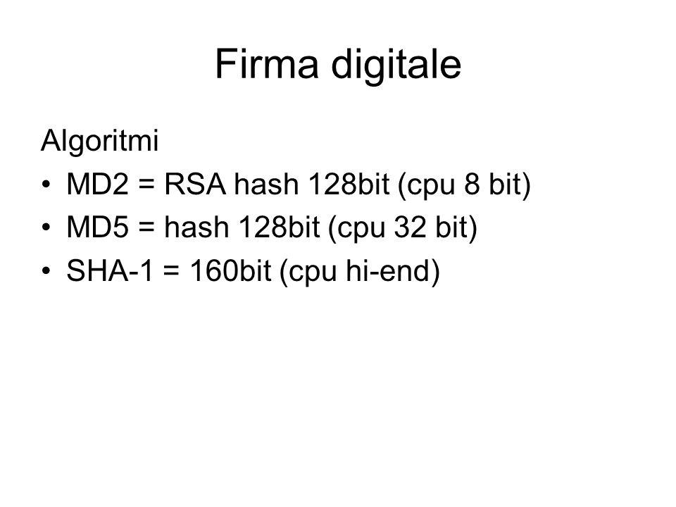 Firma digitale Algoritmi MD2 = RSA hash 128bit (cpu 8 bit) MD5 = hash 128bit (cpu 32 bit) SHA-1 = 160bit (cpu hi-end)