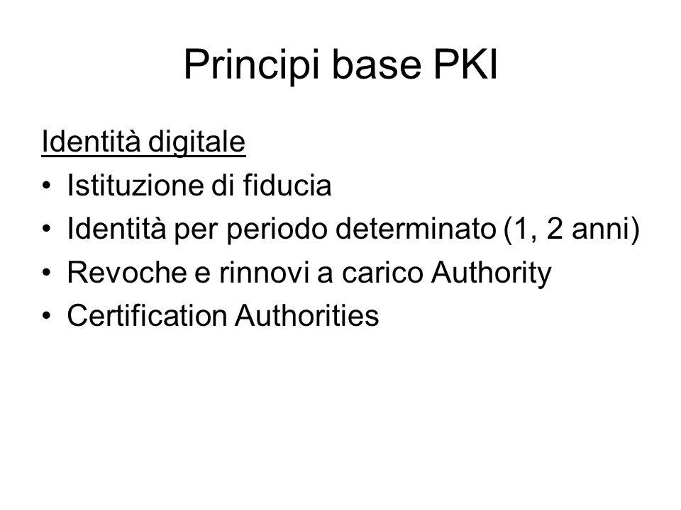 Principi base PKI Identità digitale Istituzione di fiducia Identità per periodo determinato (1, 2 anni) Revoche e rinnovi a carico Authority Certification Authorities