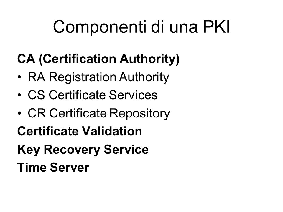Componenti di una PKI CA (Certification Authority) RA Registration Authority CS Certificate Services CR Certificate Repository Certificate Validation