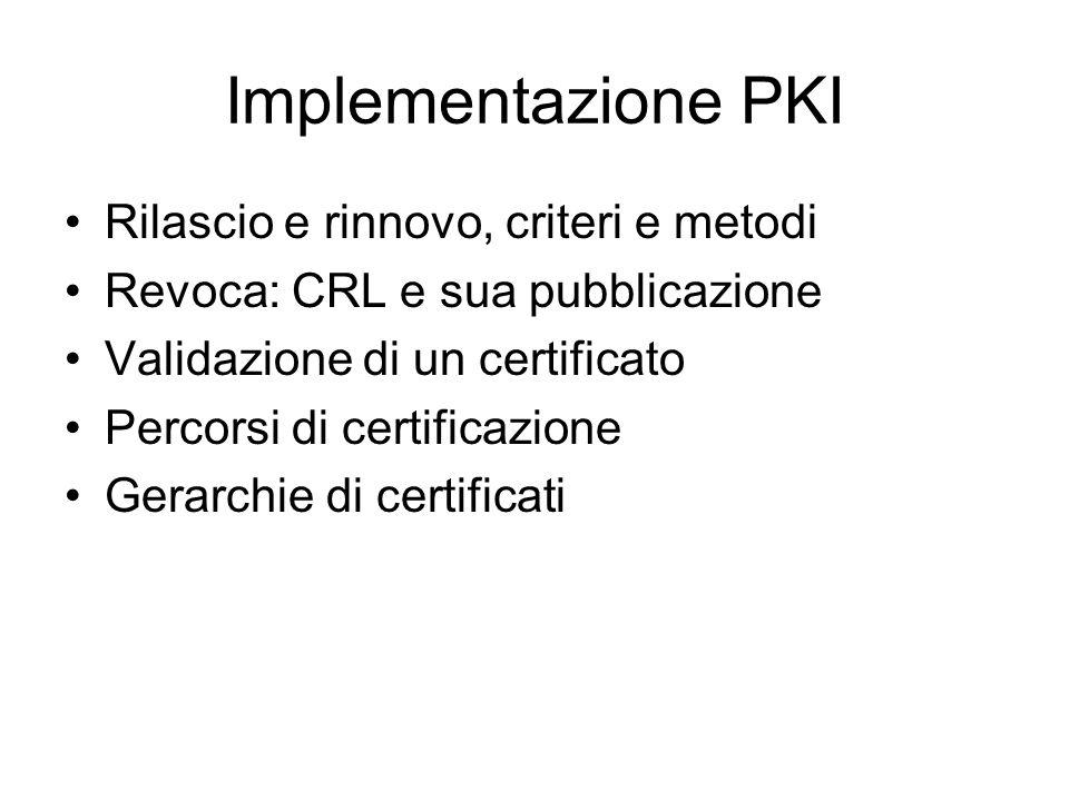 Implementazione PKI Rilascio e rinnovo, criteri e metodi Revoca: CRL e sua pubblicazione Validazione di un certificato Percorsi di certificazione Gerarchie di certificati