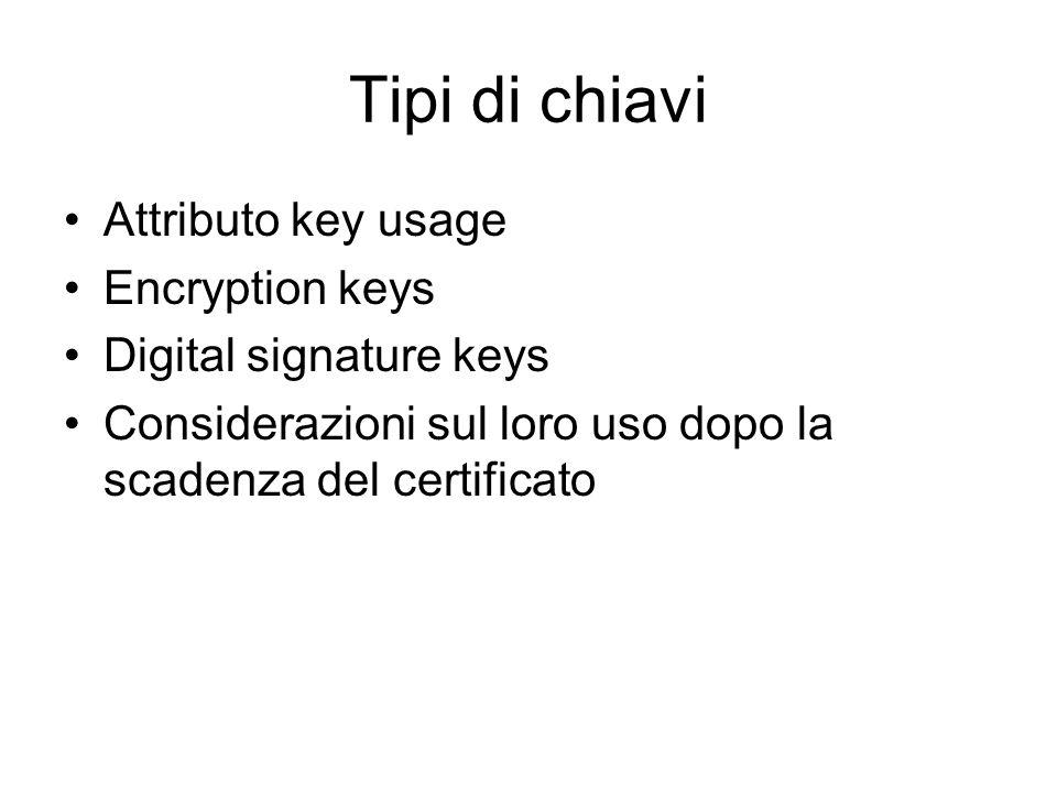 Tipi di chiavi Attributo key usage Encryption keys Digital signature keys Considerazioni sul loro uso dopo la scadenza del certificato