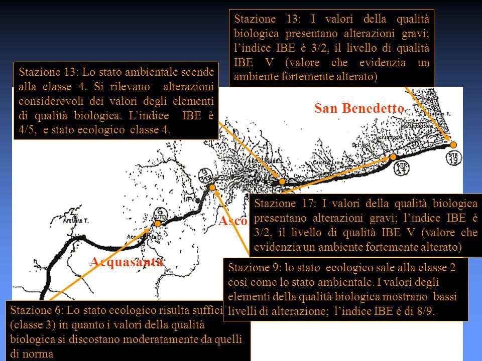 Ascoli Piceno Acquasanta San Benedetto Stazione 6: Lo stato ecologico risulta sufficiente (classe 3) in quanto i valori della qualità biologica si discostano moderatamente da quelli di norma Stazione 9: lo stato ecologico sale alla classe 2 così come lo stato ambientale.