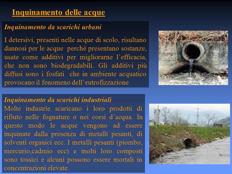 Inquinamento delle acque Inquinamento da scarichi urbani I detersivi, presenti nelle acque di scolo, risultano dannosi per le acque perché presentano sostanze, usate come additivi per migliorarne l'efficacia, che non sono biodegradabili.