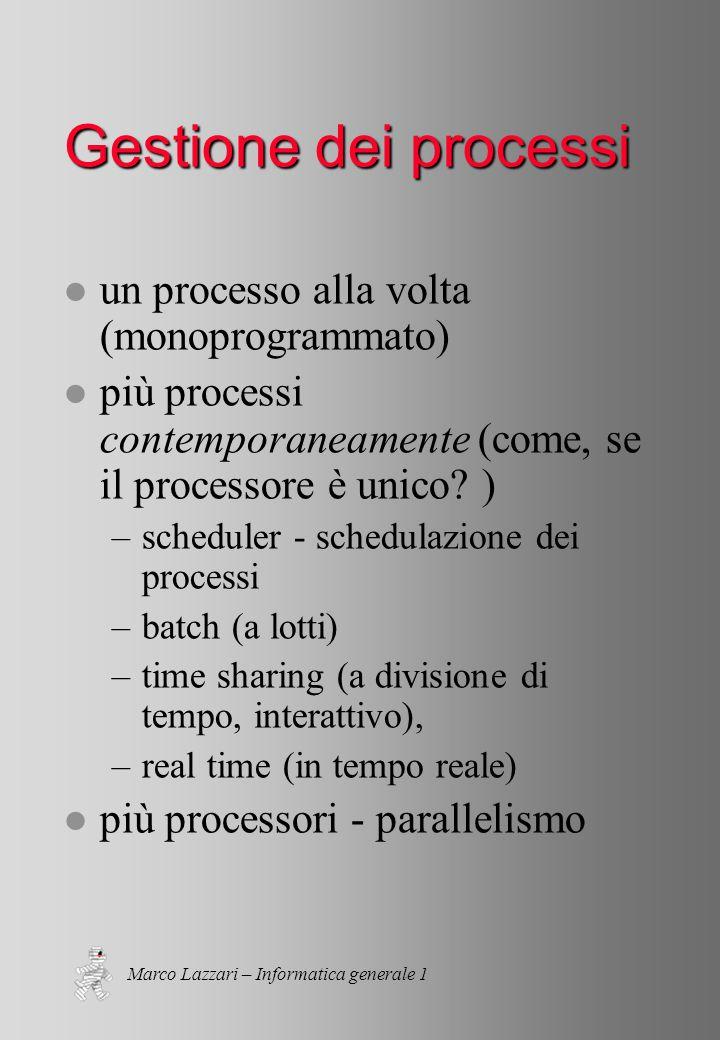 Marco Lazzari – Informatica generale 1 Gestione dei processi l un processo alla volta (monoprogrammato) l più processi contemporaneamente (come, se il processore è unico.