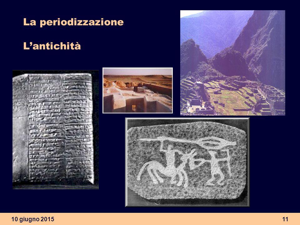 10 giugno 201511 La periodizzazione L'antichità