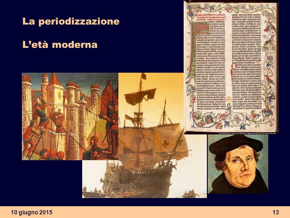 10 giugno 201513 La periodizzazione L'età moderna