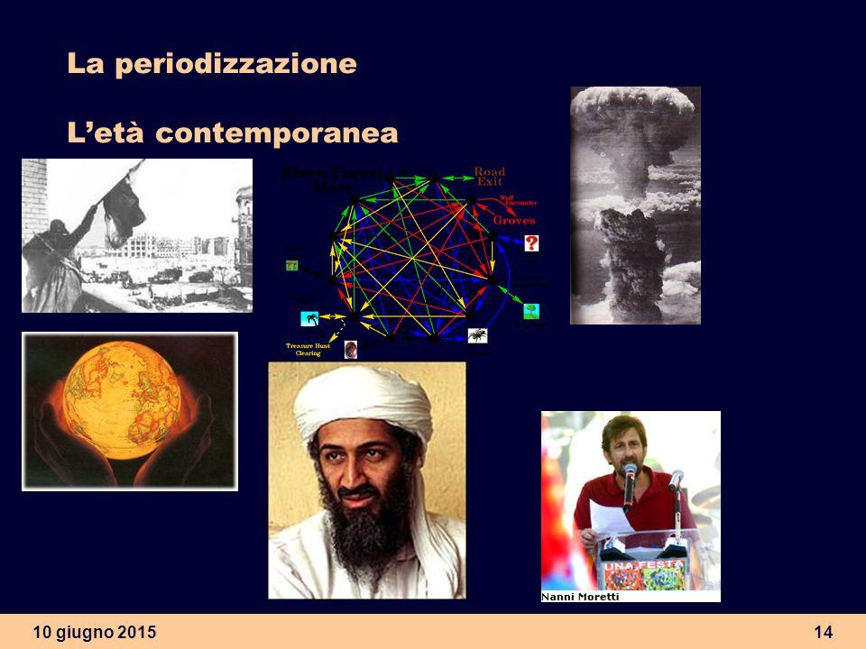10 giugno 201514 La periodizzazione L'età contemporanea