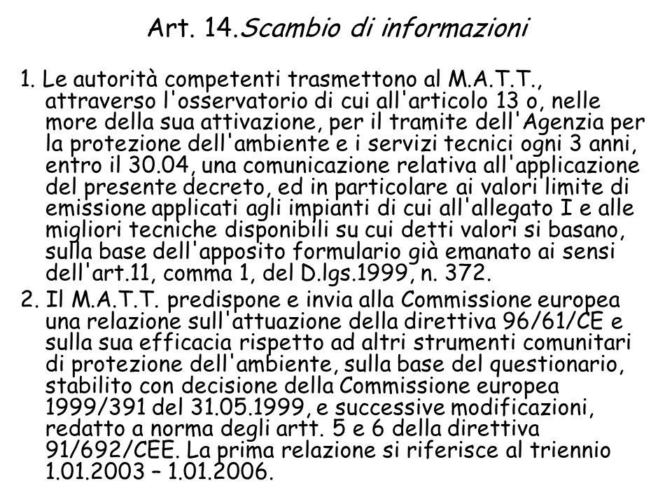 Art. 14.Scambio di informazioni 1.