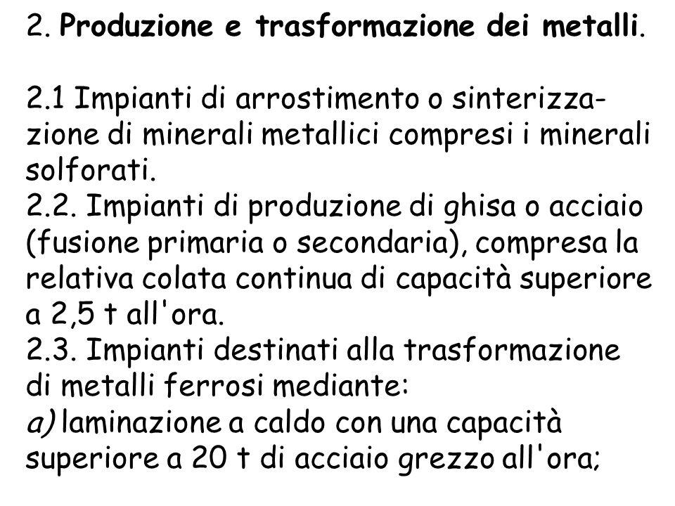2. Produzione e trasformazione dei metalli.