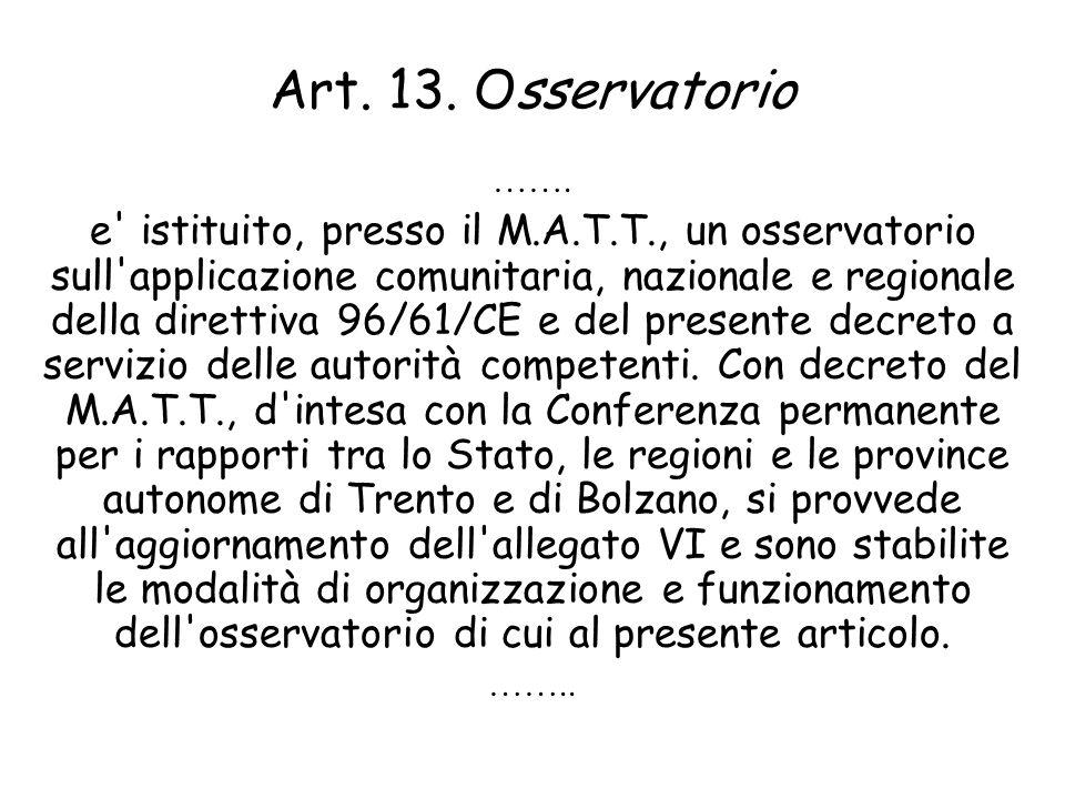 Art. 13. Osservatorio …….