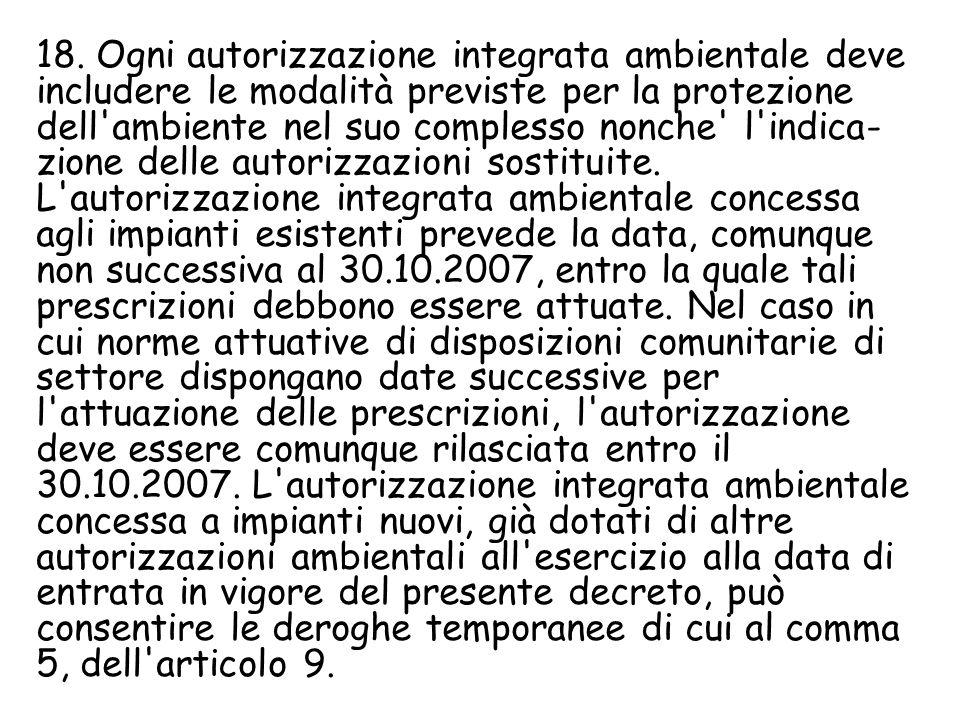 18. Ogni autorizzazione integrata ambientale deve includere le modalità previste per la protezione dell'ambiente nel suo complesso nonche' l'indica- z