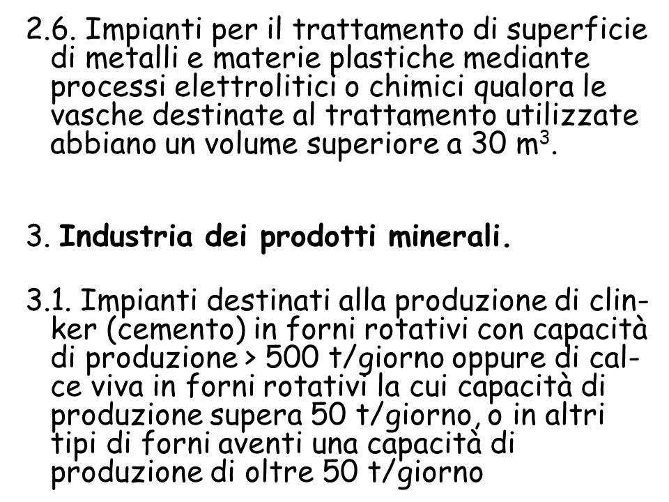 2.6. Impianti per il trattamento di superficie di metalli e materie plastiche mediante processi elettrolitici o chimici qualora le vasche destinate al