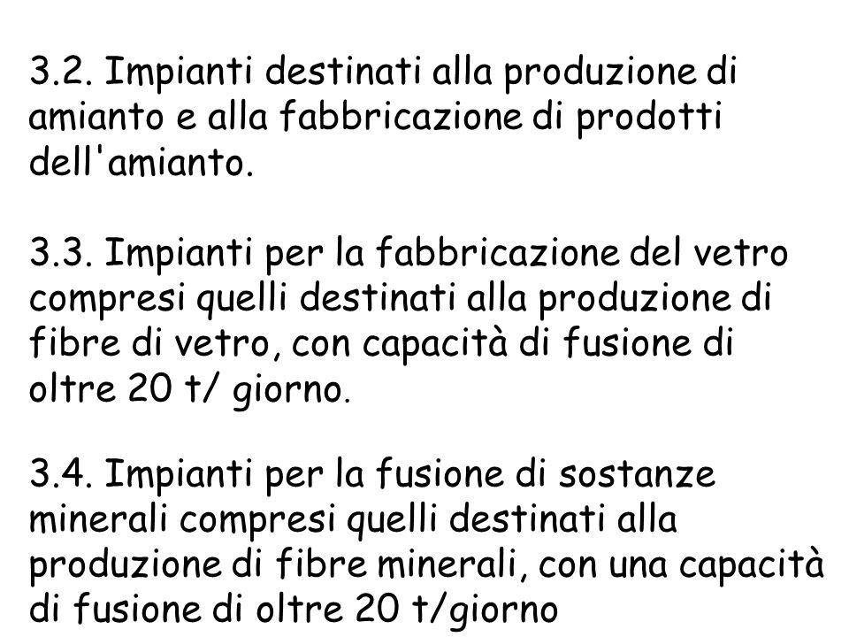3.2. Impianti destinati alla produzione di amianto e alla fabbricazione di prodotti dell amianto.