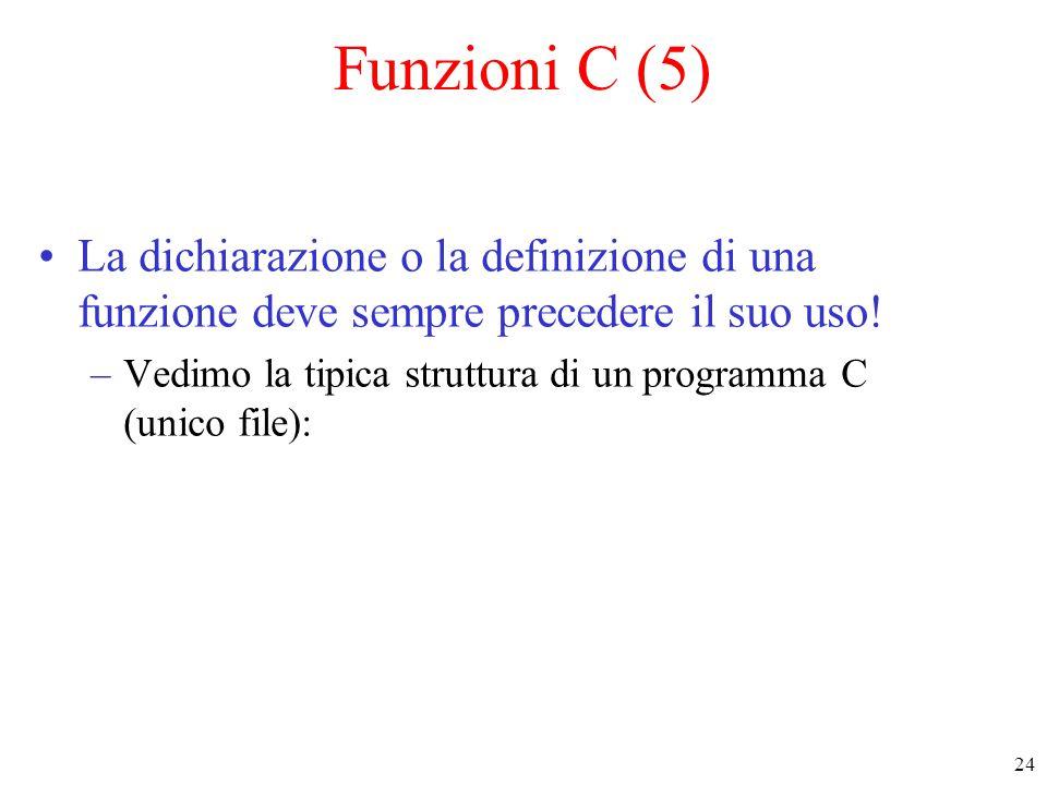 24 Funzioni C (5) La dichiarazione o la definizione di una funzione deve sempre precedere il suo uso! –Vedimo la tipica struttura di un programma C (u