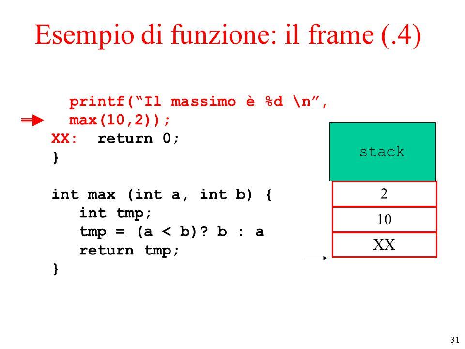 """31 Esempio di funzione: il frame (.4) printf(""""Il massimo è %d \n"""", max(10,2)); XX: return 0; } int max (int a, int b) { int tmp; tmp = (a < b)? b : a"""