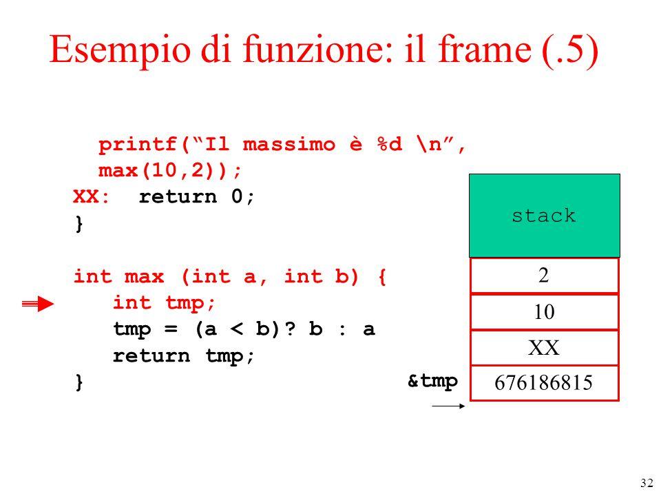 """32 Esempio di funzione: il frame (.5) printf(""""Il massimo è %d \n"""", max(10,2)); XX: return 0; } int max (int a, int b) { int tmp; tmp = (a < b)? b : a"""